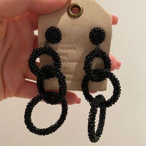 Anthropologie Black Beaded earrings BRAND NEW